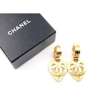 Gold Vintage 24k Chanel Clip on Earings